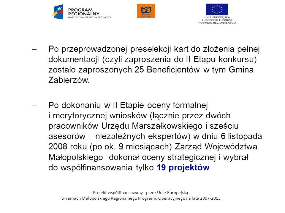 Po przeprowadzonej preselekcji kart do złożenia pełnej dokumentacji (czyli zaproszenia do II Etapu konkursu) zostało zaproszonych 25 Beneficjentów w tym Gmina Zabierzów.