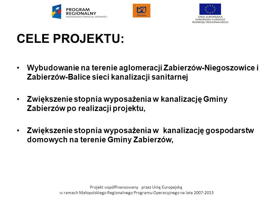 CELE PROJEKTU: Wybudowanie na terenie aglomeracji Zabierzów-Niegoszowice i Zabierzów-Balice sieci kanalizacji sanitarnej.