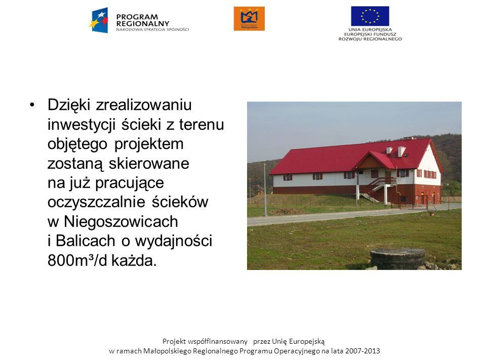 Dzięki zrealizowaniu inwestycji ścieki z terenu objętego projektem zostaną skierowane na już pracujące oczyszczalnie ścieków w Niegoszowicach i Balicach o wydajności 800m³/d każda.
