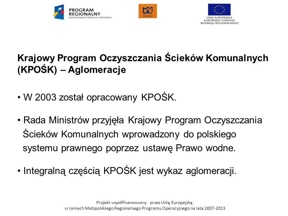 Krajowy Program Oczyszczania Ścieków Komunalnych (KPOŚK) – Aglomeracje