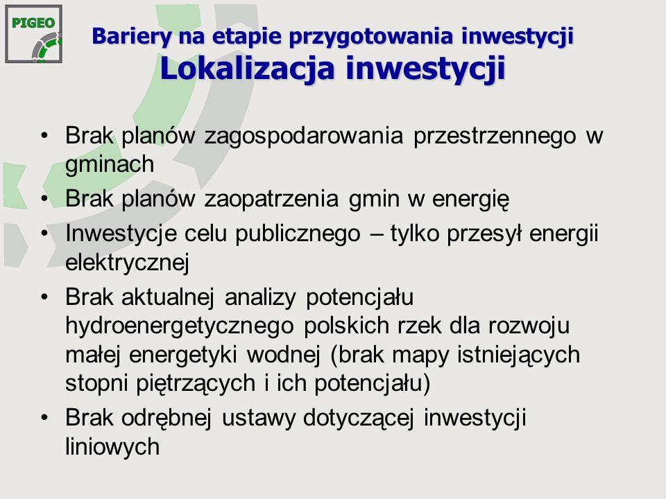 Bariery na etapie przygotowania inwestycji Lokalizacja inwestycji
