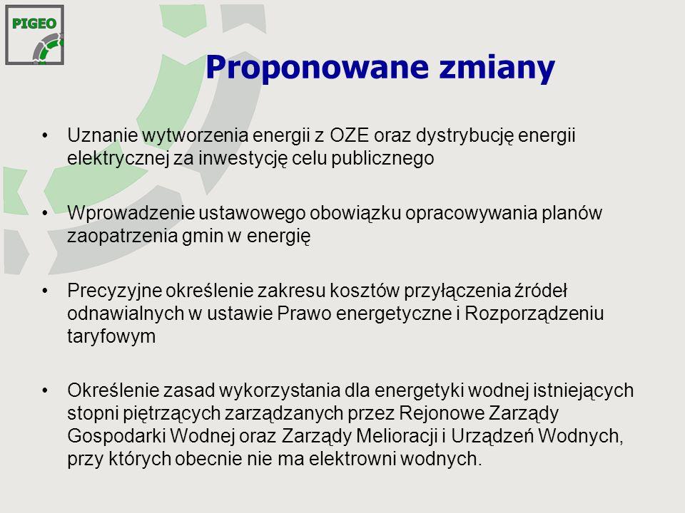 Proponowane zmiany Uznanie wytworzenia energii z OZE oraz dystrybucję energii elektrycznej za inwestycję celu publicznego.