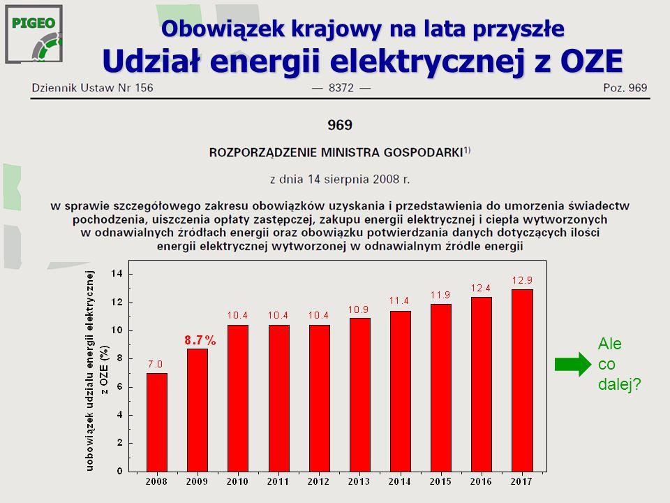 Obowiązek krajowy na lata przyszłe Udział energii elektrycznej z OZE