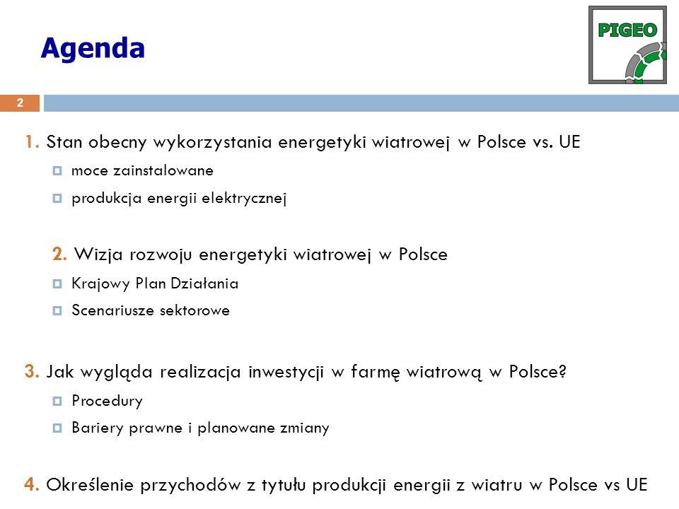 Agenda 1. Stan obecny wykorzystania energetyki wiatrowej w Polsce vs. UE. moce zainstalowane. produkcja energii elektrycznej.