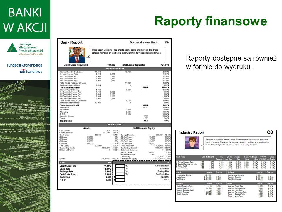 Raporty finansowe Raporty dostępne są również w formie do wydruku.