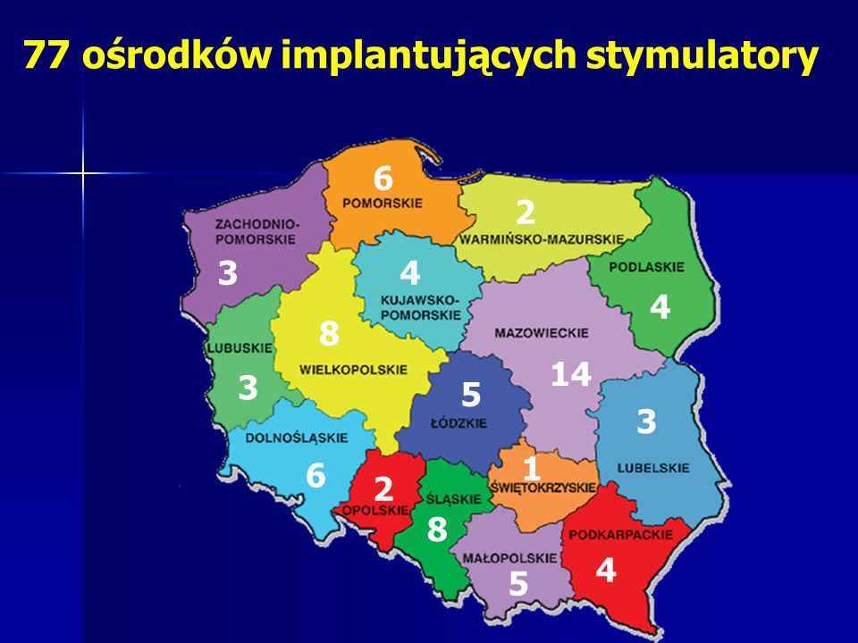 77 ośrodków implantujących stymulatory