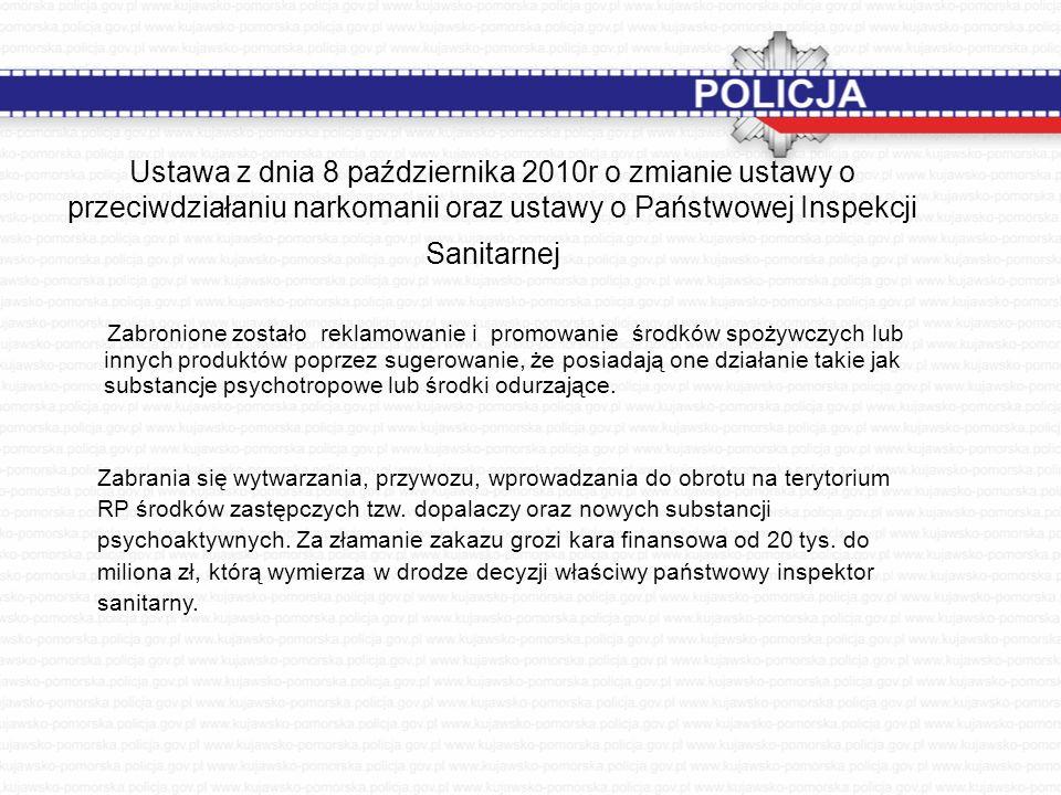 Ustawa z dnia 8 października 2010r o zmianie ustawy o przeciwdziałaniu narkomanii oraz ustawy o Państwowej Inspekcji Sanitarnej