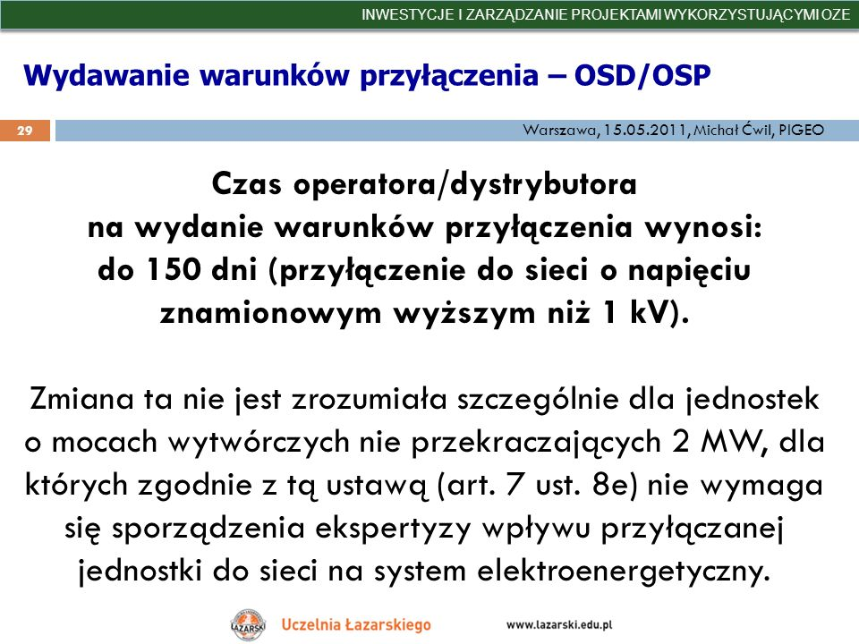 Wydawanie warunków przyłączenia – OSD/OSP