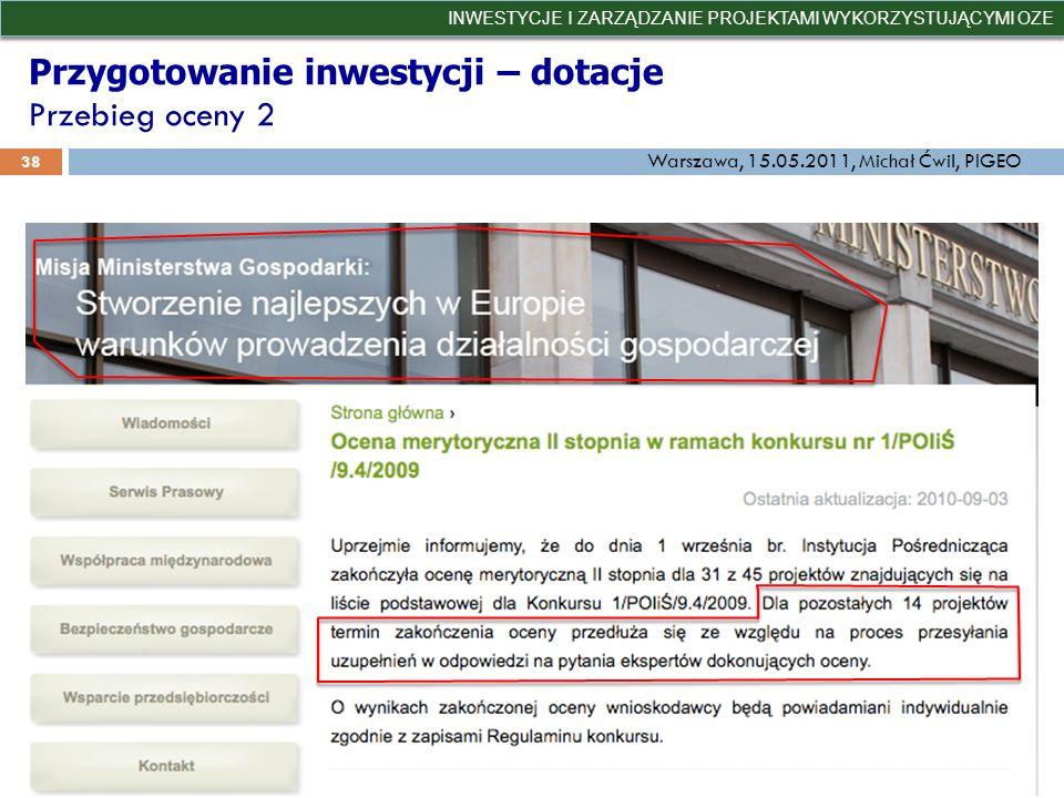 Przygotowanie inwestycji – dotacje Przebieg oceny 2
