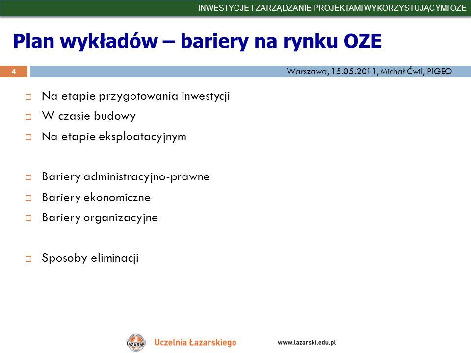 Plan wykładów – bariery na rynku OZE