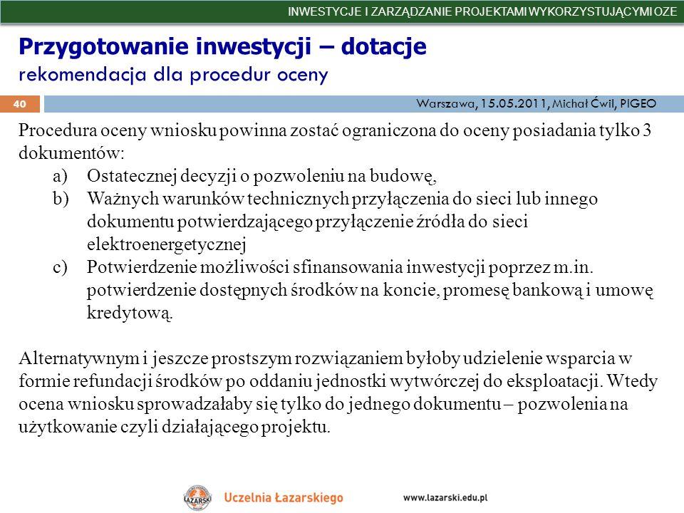 Przygotowanie inwestycji – dotacje rekomendacja dla procedur oceny