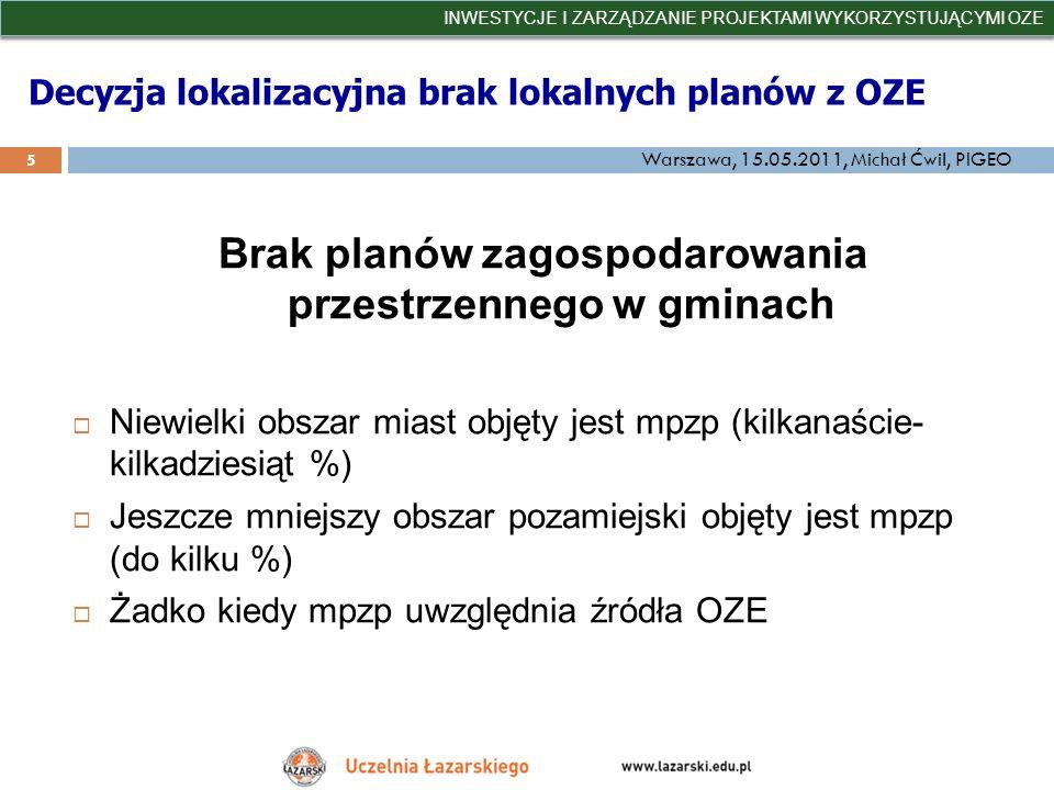 Decyzja lokalizacyjna brak lokalnych planów z OZE