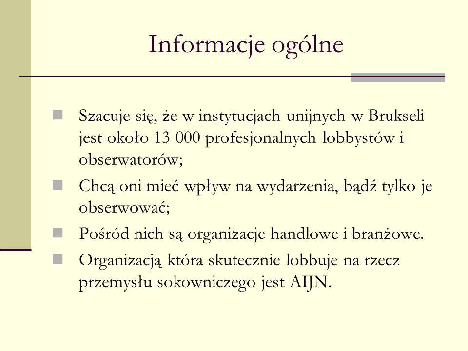 Informacje ogólne Szacuje się, że w instytucjach unijnych w Brukseli jest około 13 000 profesjonalnych lobbystów i obserwatorów;