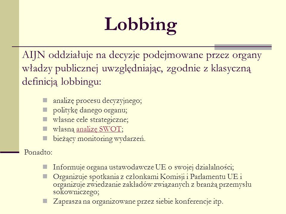 LobbingAIJN oddziałuje na decyzje podejmowane przez organy władzy publicznej uwzględniając, zgodnie z klasyczną definicją lobbingu: