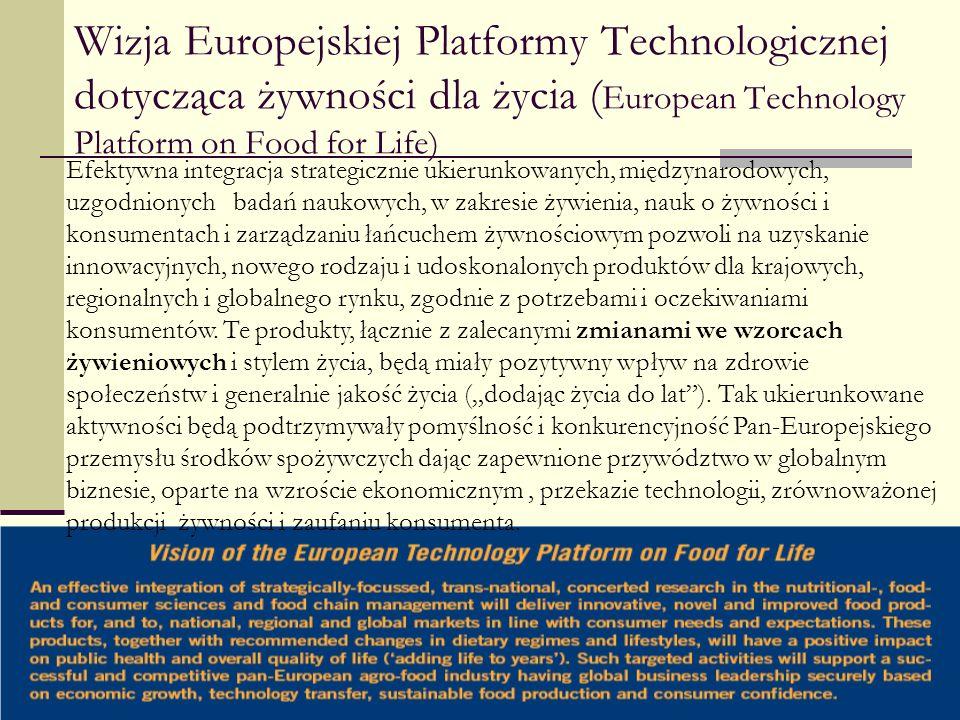 Wizja Europejskiej Platformy Technologicznej dotycząca żywności dla życia (European Technology Platform on Food for Life)