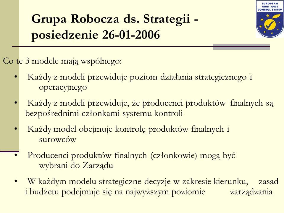 Grupa Robocza ds. Strategii - posiedzenie 26-01-2006