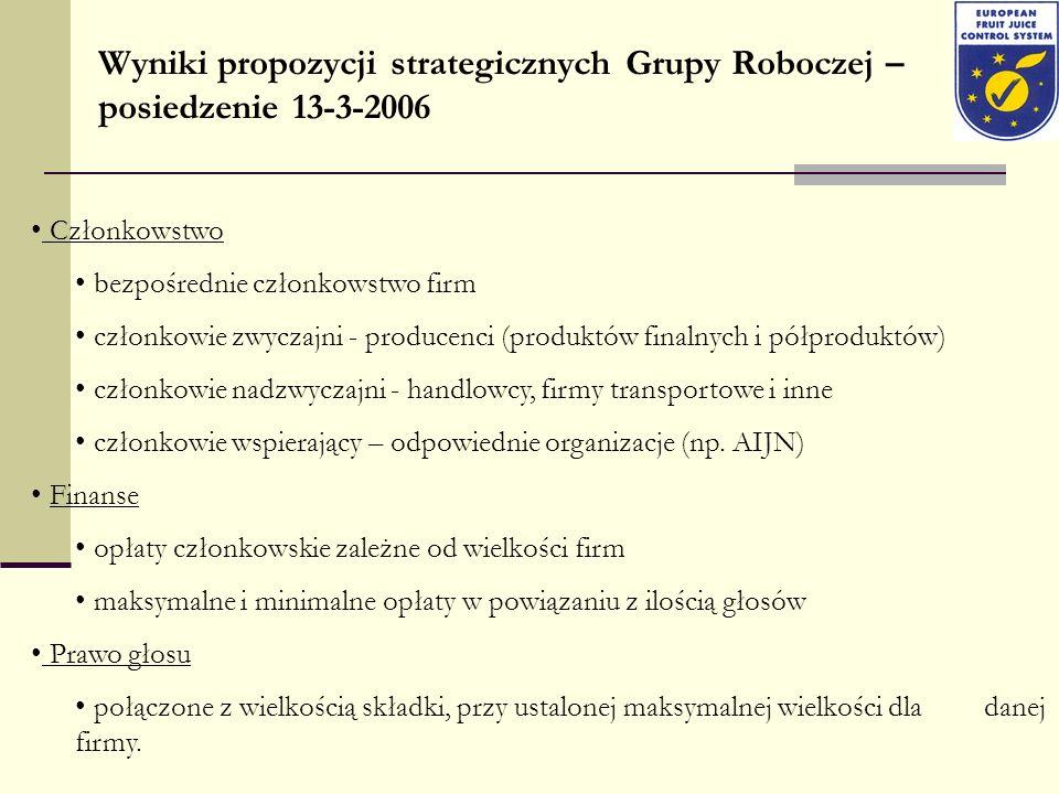 Wyniki propozycji strategicznych Grupy Roboczej – posiedzenie 13-3-2006