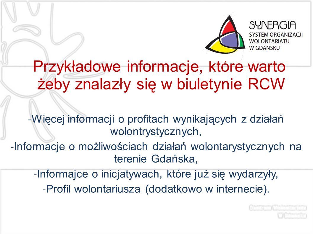 Przykładowe informacje, które warto żeby znalazły się w biuletynie RCW