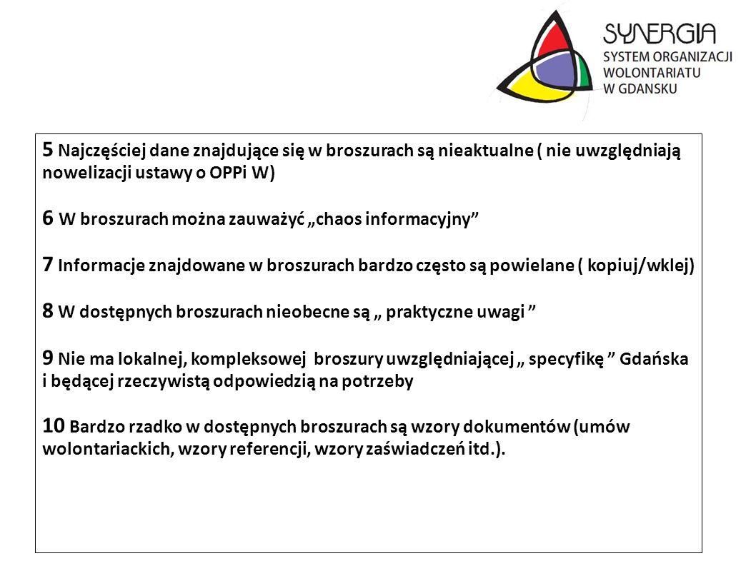 5 Najczęściej dane znajdujące się w broszurach są nieaktualne ( nie uwzględniają nowelizacji ustawy o OPPi W)