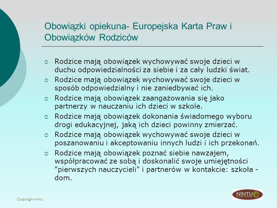 Obowiązki opiekuna- Europejska Karta Praw i Obowiązków Rodziców