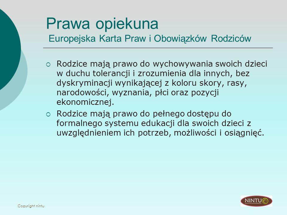 Prawa opiekuna Europejska Karta Praw i Obowiązków Rodziców