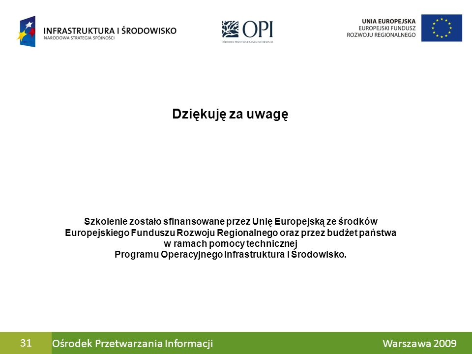 Dziękuję za uwagę 31 Ośrodek Przetwarzania Informacji Warszawa 2009