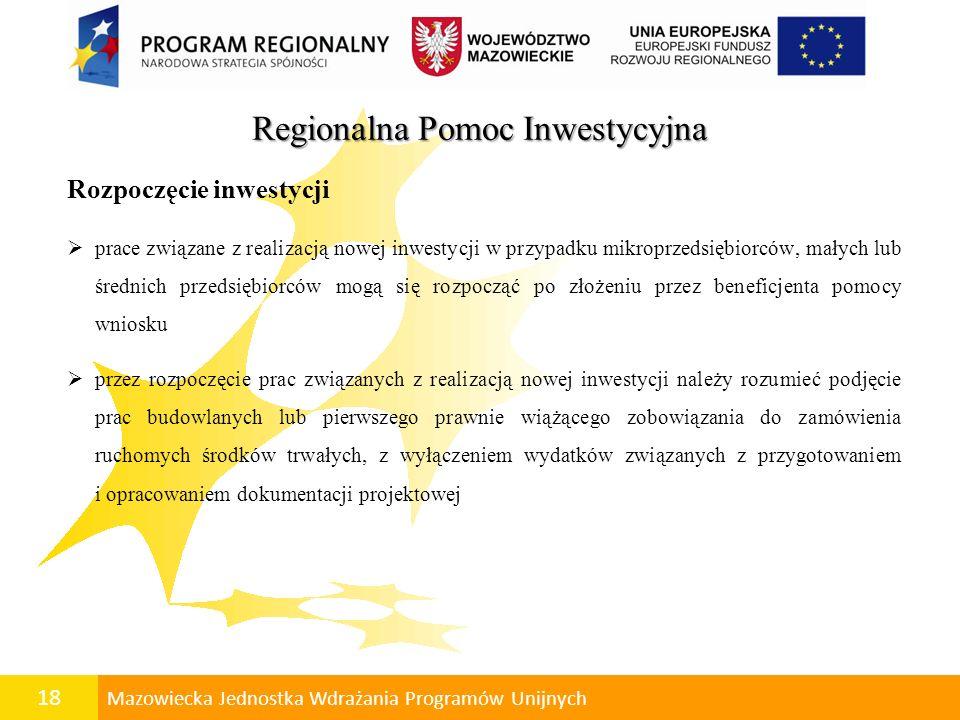Regionalna Pomoc Inwestycyjna