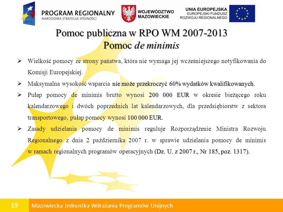 Pomoc publiczna w RPO WM 2007-2013 Pomoc de minimis