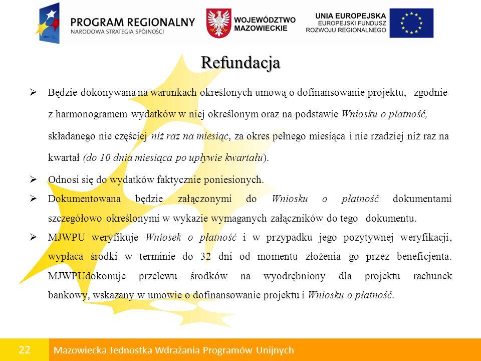 Refundacja Będzie dokonywana na warunkach określonych umową o dofinansowanie projektu, zgodnie.