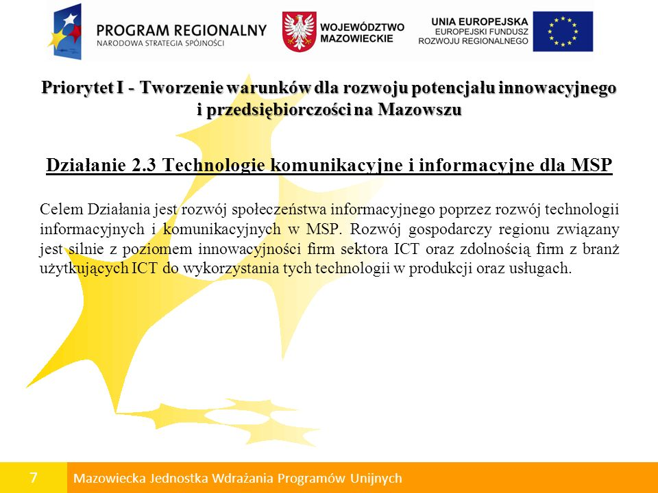 Działanie 2.3 Technologie komunikacyjne i informacyjne dla MSP
