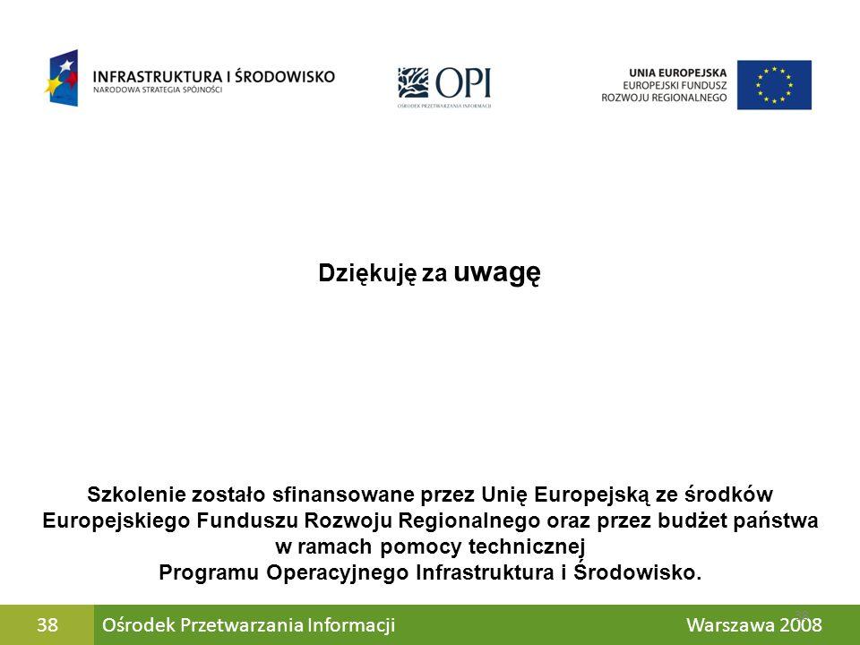 Dziękuję za uwagę Szkolenie zostało sfinansowane przez Unię Europejską ze środków.