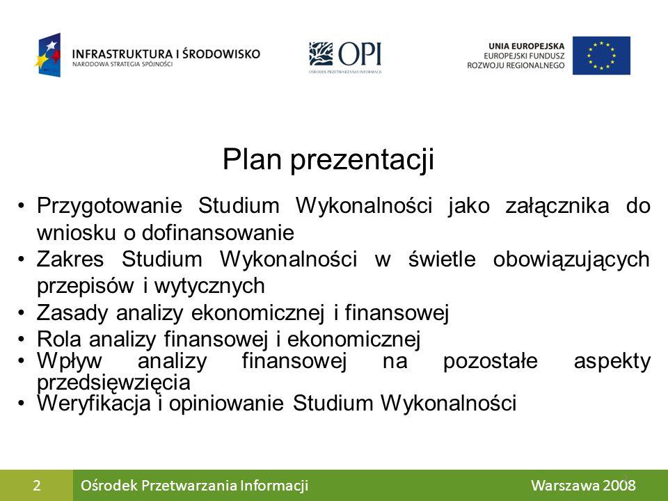Plan prezentacjiPrzygotowanie Studium Wykonalności jako załącznika do wniosku o dofinansowanie.