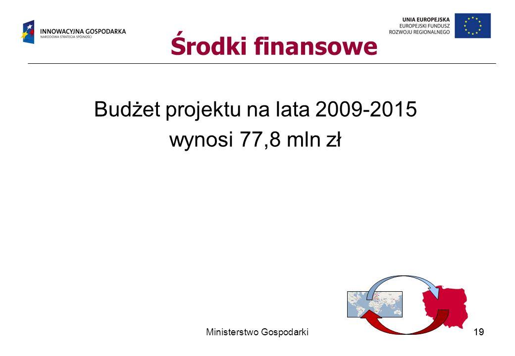 Środki finansowe Budżet projektu na lata 2009-2015 wynosi 77,8 mln zł