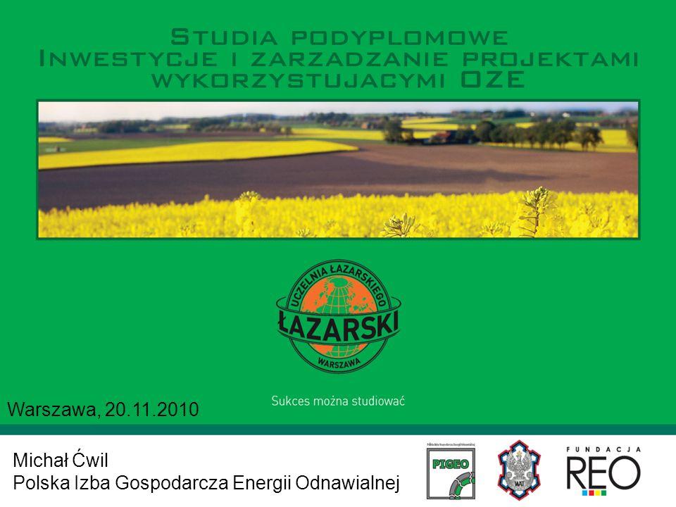 Warszawa, 20.11.2010 Michał Ćwil Polska Izba Gospodarcza Energii Odnawialnej