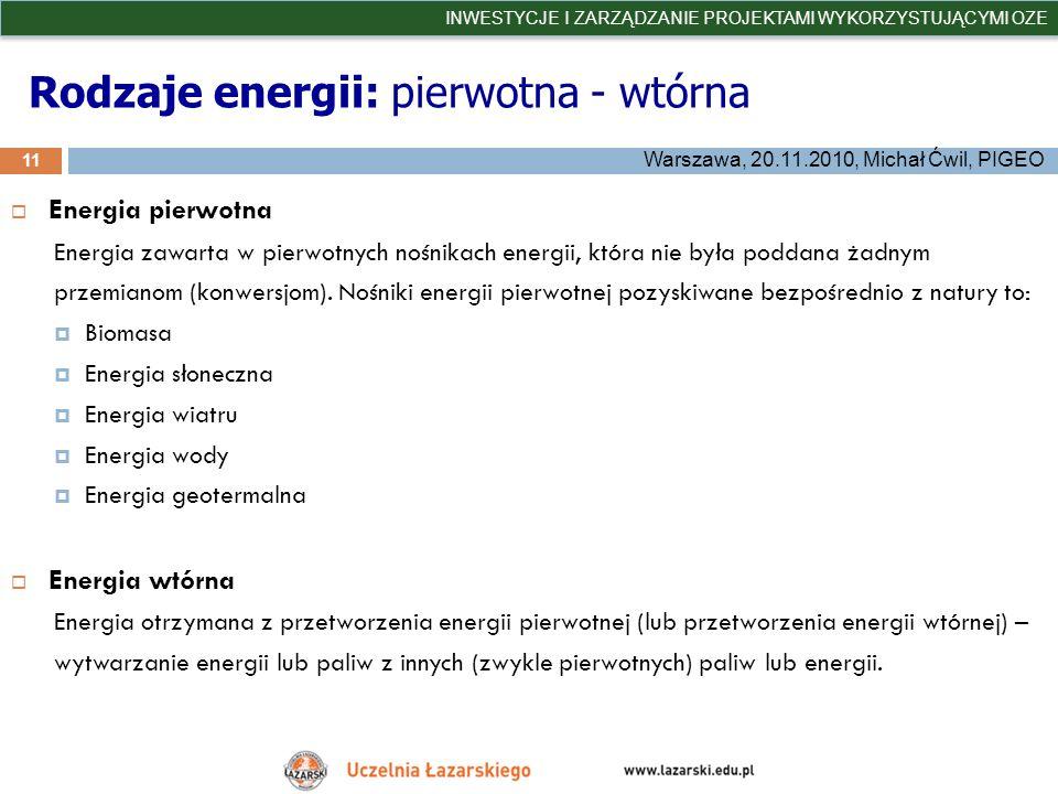 Rodzaje energii: pierwotna - wtórna