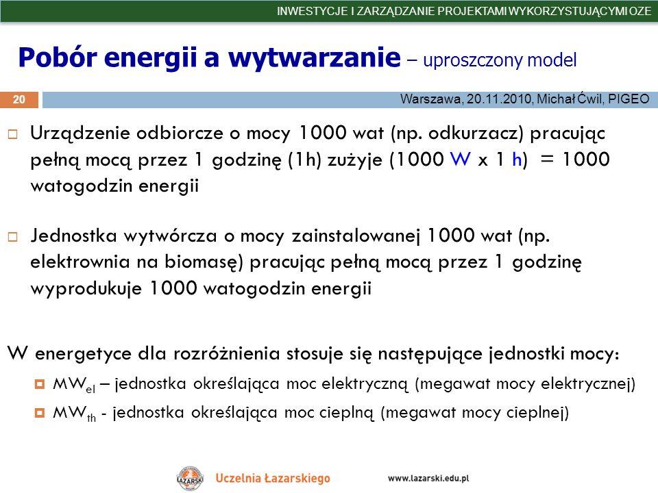 Pobór energii a wytwarzanie – uproszczony model