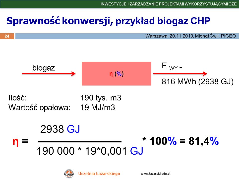 Sprawność konwersji, przykład biogaz CHP