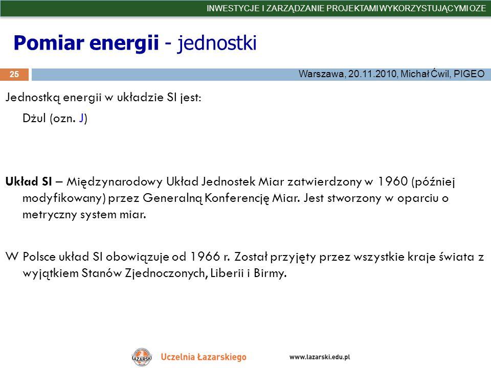 Pomiar energii - jednostki
