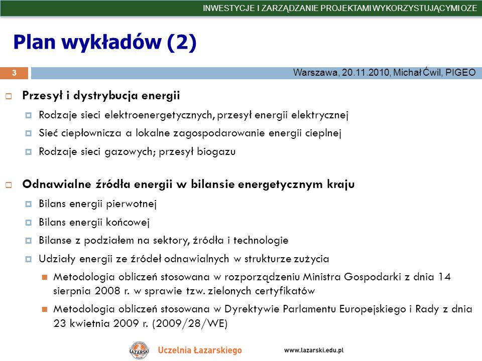 Plan wykładów (2) Przesył i dystrybucja energii