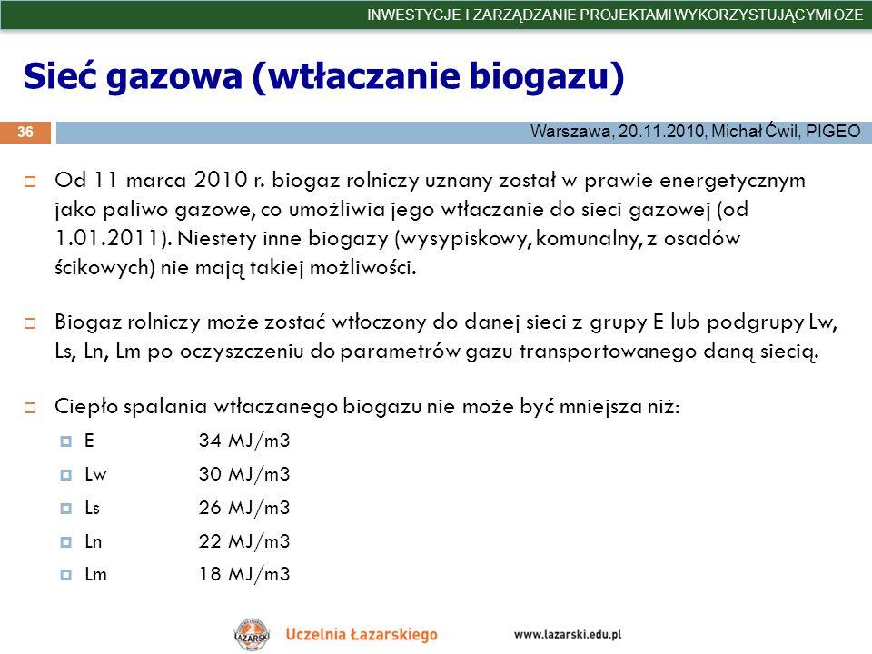 Sieć gazowa (wtłaczanie biogazu)