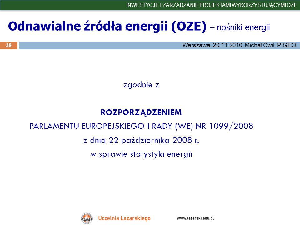 Odnawialne źródła energii (OZE) – nośniki energii