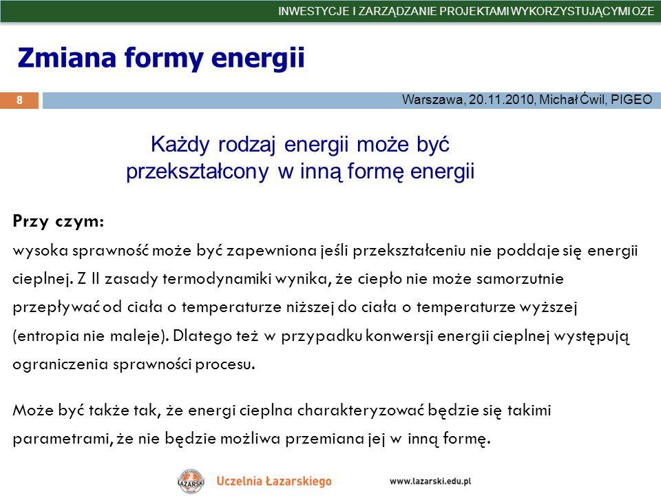 Każdy rodzaj energii może być przekształcony w inną formę energii