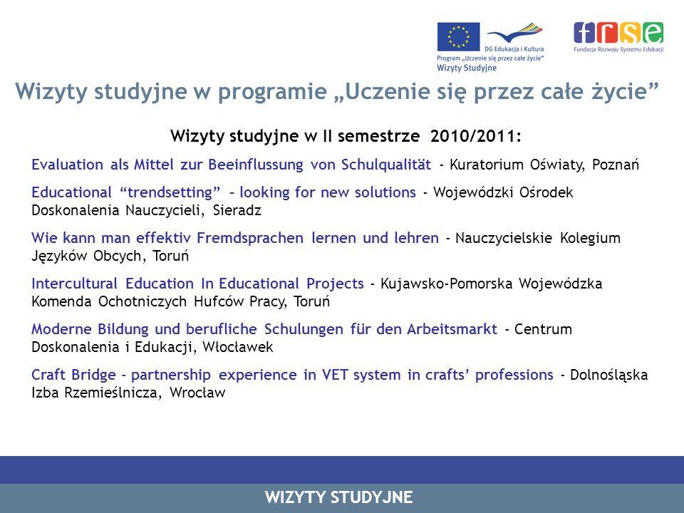 Wizyty studyjne w II semestrze 2010/2011: