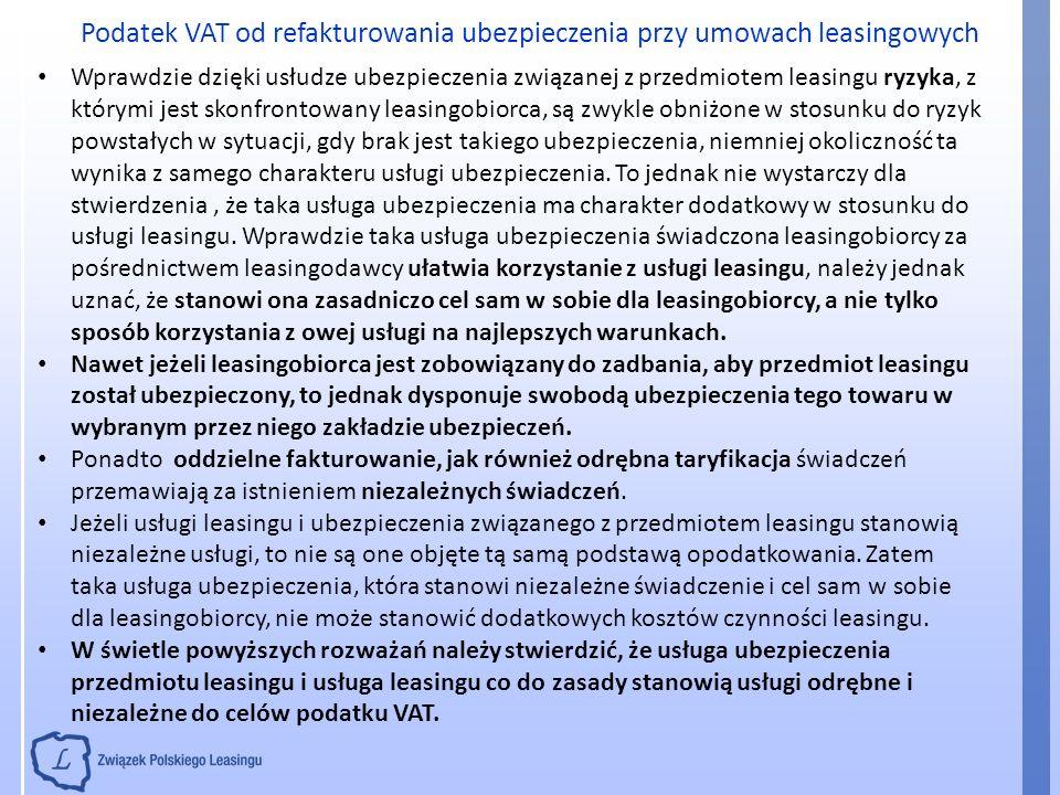 Podatek VAT od refakturowania ubezpieczenia przy umowach leasingowych