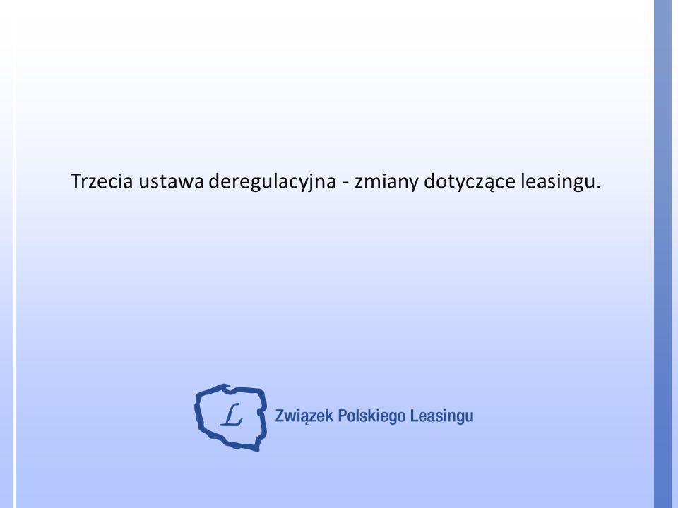 Trzecia ustawa deregulacyjna - zmiany dotyczące leasingu.