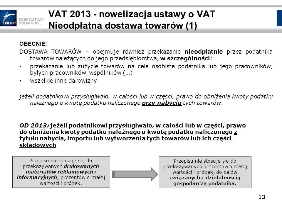 VAT 2013 - nowelizacja ustawy o VAT Nieodpłatna dostawa towarów (1)