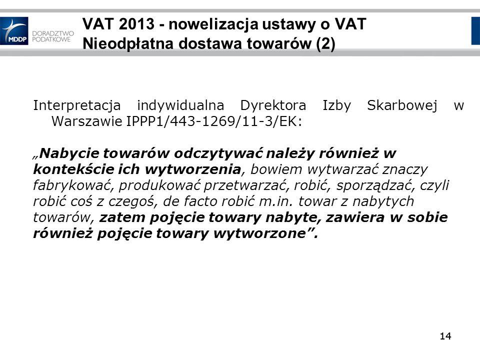 VAT 2013 - nowelizacja ustawy o VAT Nieodpłatna dostawa towarów (2)