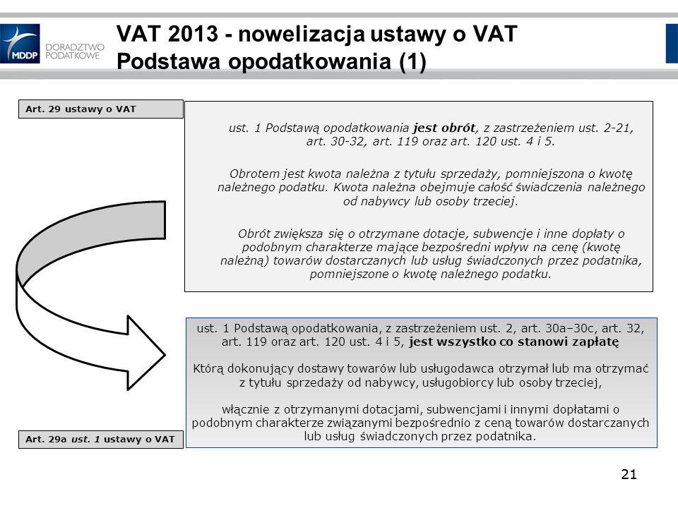 VAT 2013 - nowelizacja ustawy o VAT Podstawa opodatkowania (1)