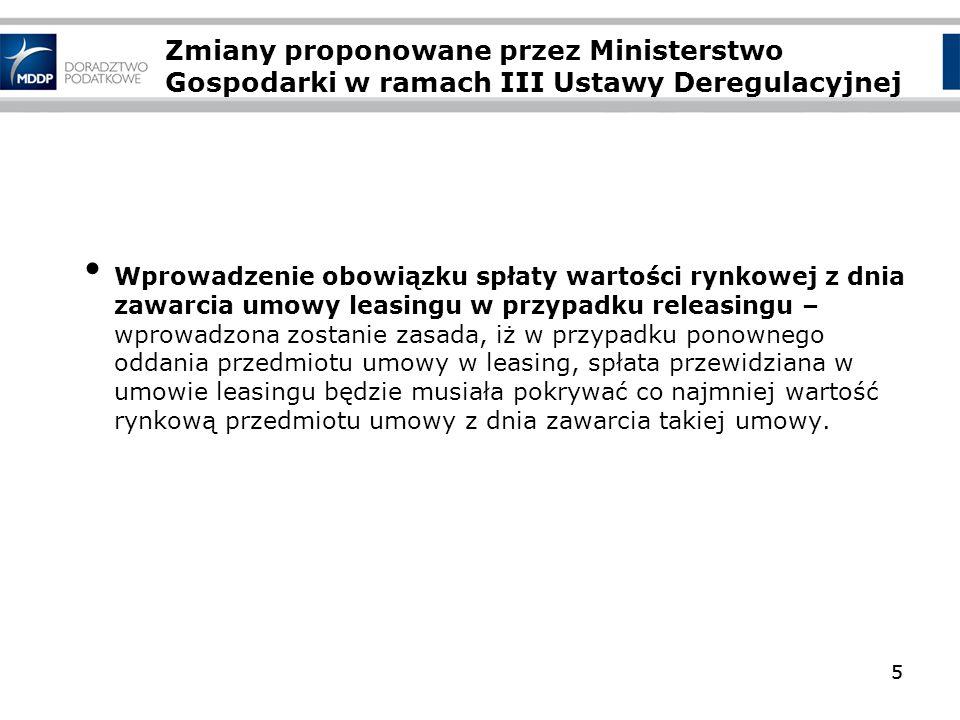 Zmiany proponowane przez Ministerstwo Gospodarki w ramach III Ustawy Deregulacyjnej