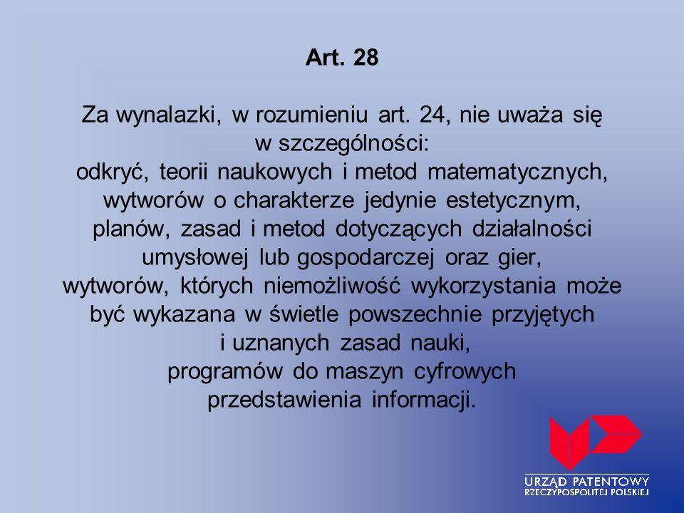 Art. 28 Za wynalazki, w rozumieniu art